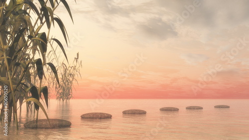 Photo Stands Melon Green nature pebbles - 3D render