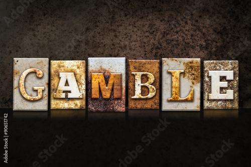 Obraz na plátně  Gamble Letterpress Concept on Dark Background