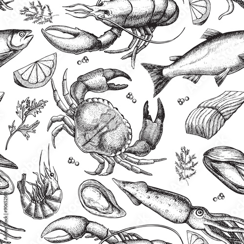 Fotografie, Tablou  Vector hand drawn seafood pattern. Vintage illustration