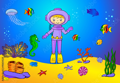Cadres-photo bureau Pirates Cute cartoon scuba diver and fish under water. Seahorse, jellyfi