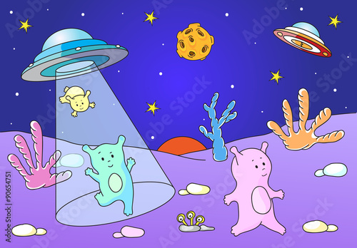 Spoed Foto op Canvas Violet Cute friendly aliens land on the planet's surface from spacecraf