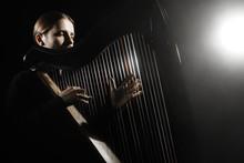 Harp Player. Harpist Classical Musicians