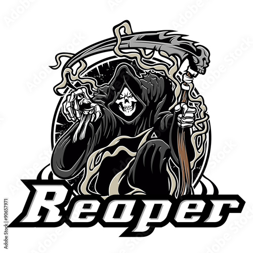 Illustration of grim reaper on white background Poster