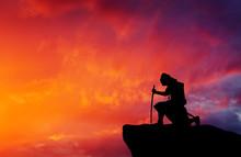 Samurai On Top Of Mountain. Conceptual Design.