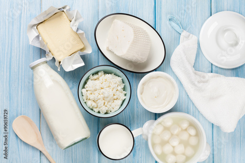 Tuinposter Zuivelproducten Dairy products. Sour cream, milk, cheese, egg, yogurt and butter