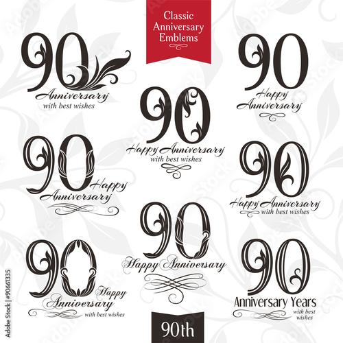 Valokuva  Anniversary 90 emblems set in classic style