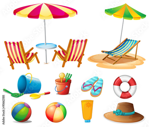 Cuadros en Lienzo Beach objects and toys