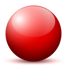 Beautiful Red Unlabeled 3D Vector Sphere With Smooth Shadow On The Ground And White Background - Marble, Glossy, Glass, Ball, Pearl, Globe - With Bright Reflection - Kugel, Glaskugel, Murmel, Rot