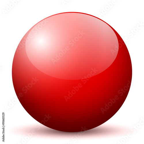 Fotografie, Obraz  Beautiful Red Unlabeled 3D Vector Sphere with Smooth Shadow on the Ground and Wh