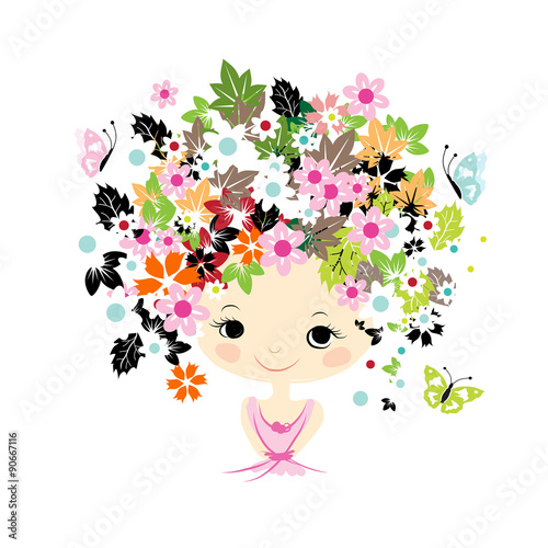 Foto op Aluminium Bloemen vrouw Female portrait with floral hairstyle for your design