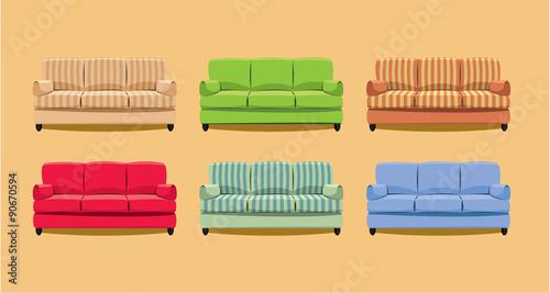 Fotografie, Obraz  Simple couch collection - retro theme - vector illustration