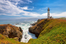 Pigeon Point Lighthouse, Pacific Coastline In California