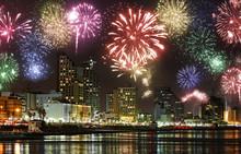 Celebratory Fireworks At Coast Of Tel-Aviv (Mediterranean Sea. Israel)