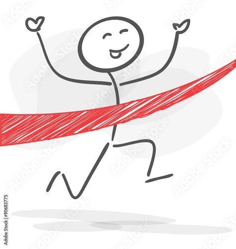 Fototapety, obrazy: stickman goal winner work red