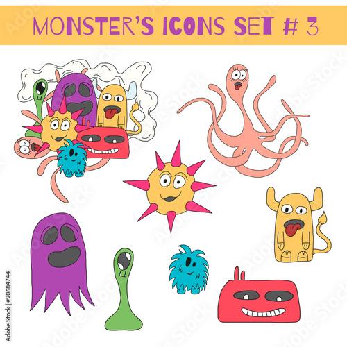 Foto op Aluminium Schepselen Set of doodle monsters icons