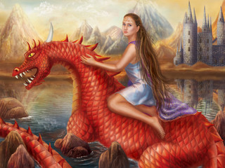 Naklejka Fantasy Red dragon and beautiful princess float on water.