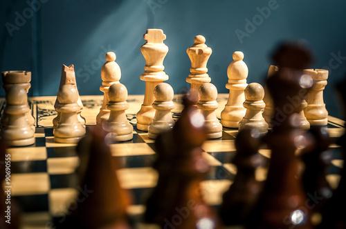 échecs en bois Tableau sur Toile