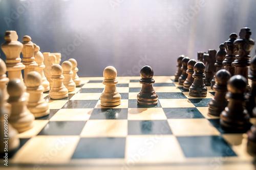 Photographie  échecs en bois
