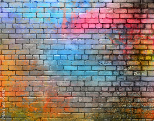 Montage in der Fensternische Graffiti Colorful brick wall texture
