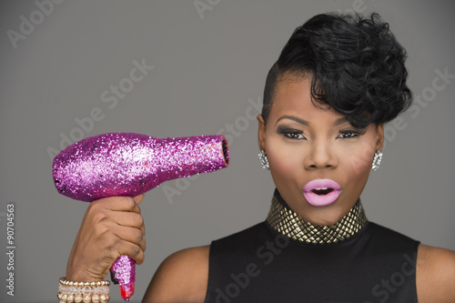 Fényképezés  Pink Hair Dryer African American Woman