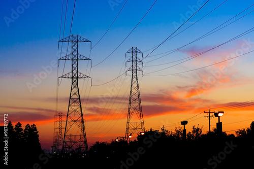 фотография  Electricity Towers Sunset