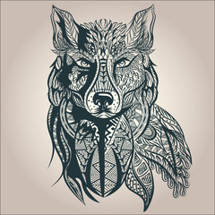 FototapetaOrnamental decorative wolf, predator, pattern, Isolated