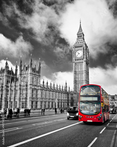 Foto op Canvas Londen rode bus Houses of Parliament