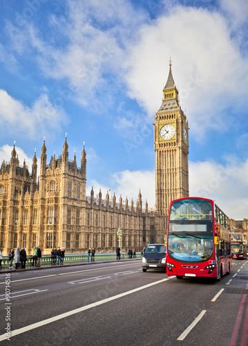 Türaufkleber London roten bus Houses of Parliament
