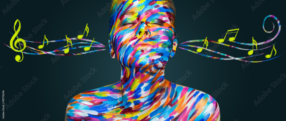 Fototapety, obrazy: Beautiful girl with art colorful make-up and notes