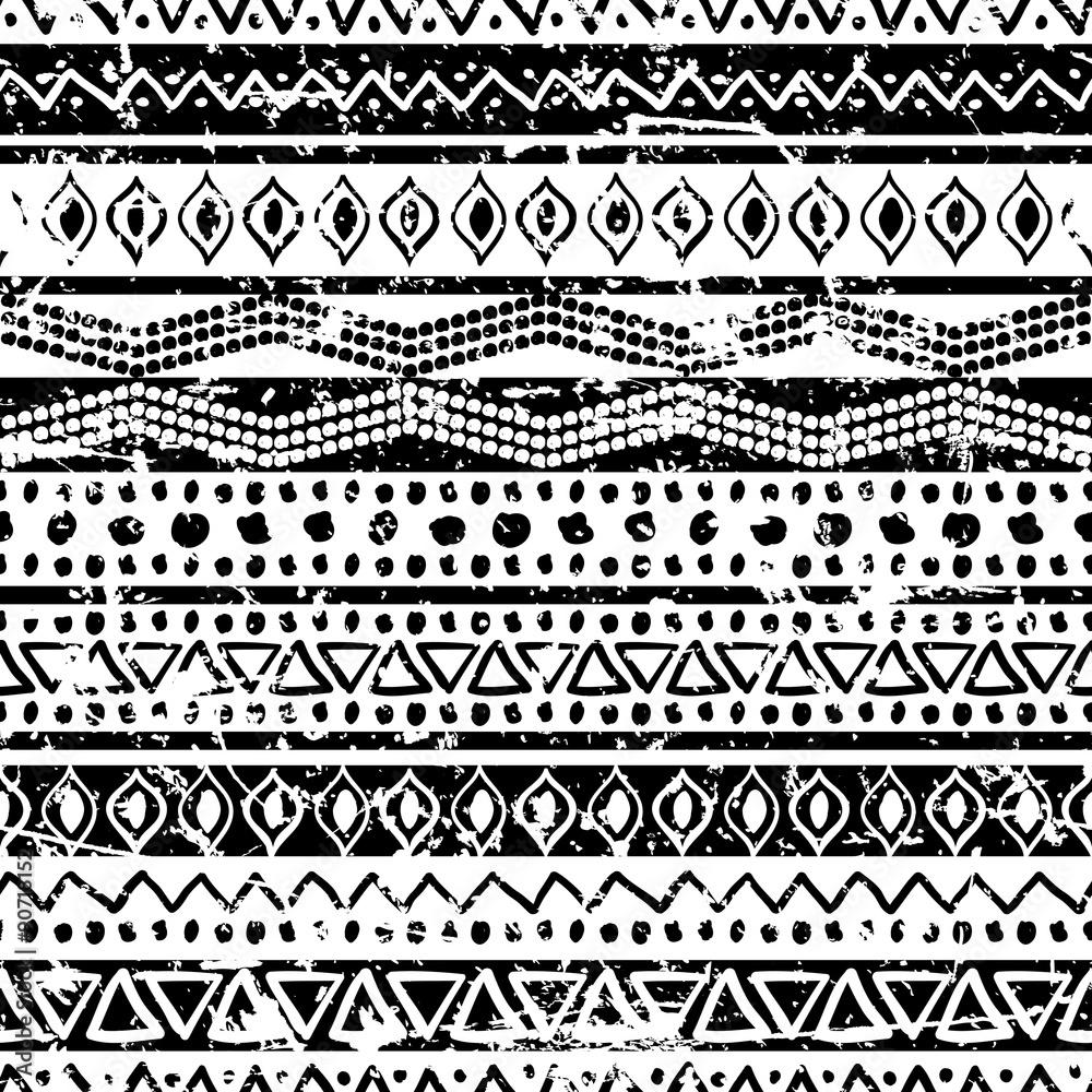 Fototapeta Vector ethnic seamless pattern. Hand drawn tribal striped orname