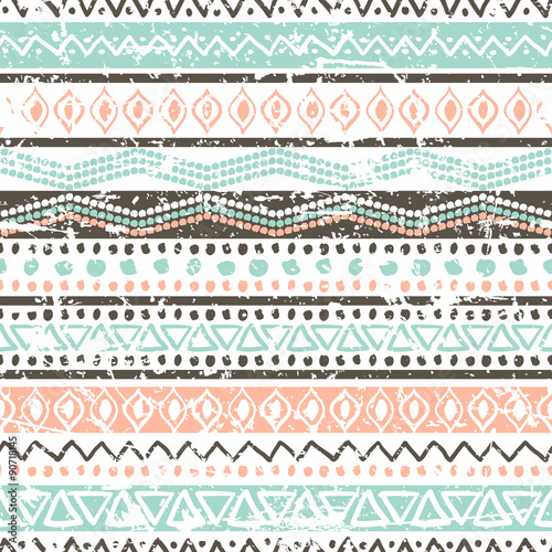Photo sur Aluminium Style Boho Vector ethnic seamless pattern. Hand drawn tribal striped orname