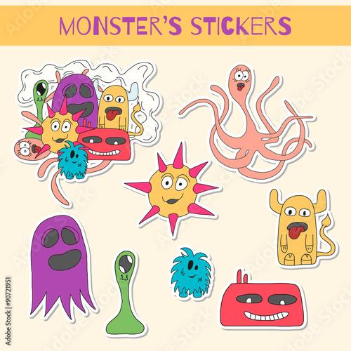 Foto op Aluminium Schepselen Set of stickers with doodle monsters.