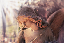 Golden Angel In The Sunlight (antique Statue Styled Vintage)