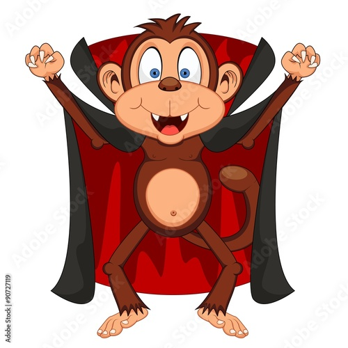 Fotografie, Obraz  Vampire Monkey Cartoon