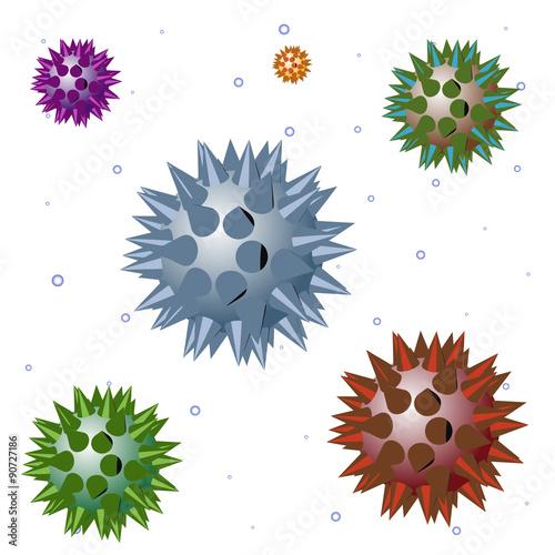 Foto op Canvas Schepselen Vector aggressive bacteria