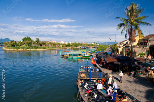 Boat wharf at Hoi An market, Danang, Vietnam. Hoi An is the World's Cultural heritage site, famous for mixed cultures & architecture.