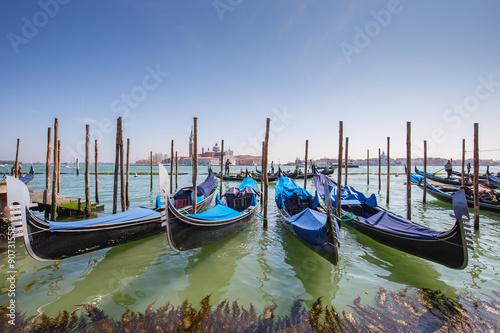 Foto op Plexiglas Venetie Gondola the Venetian rowing boat in Venice, Italy