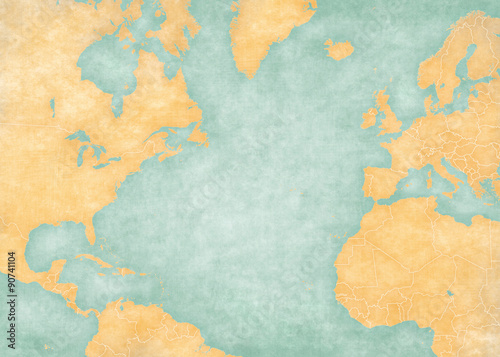 Fotografia  Map of North Atlantic - Blank map (Vintage Series)