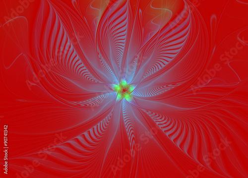 Staande foto Fractal waves abstract fractal wave pattern on red background