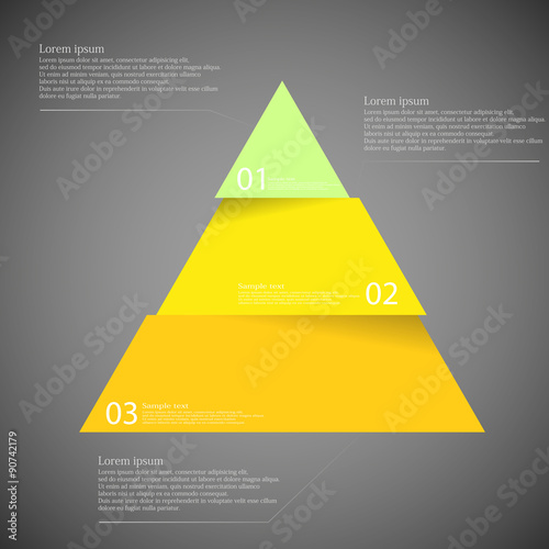Fotografie, Obraz  Dark illustration inforgraphic with triangle divided to three parts