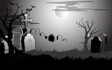 The Illustration Shows View Of The Cemetery At Night . Symbolic Background Presented To The Halloween Holiday, On Separate Layers.
