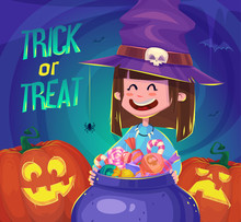 Trick Or Treat. Halloween Poster Background Card. Vector