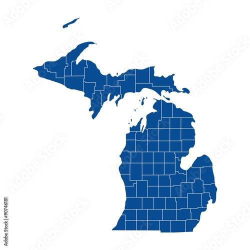 Map of Michigan Wall mural