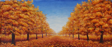 The Street Is Dotted With Yellow Leaves. Trees In Autumn On A Background Of Blue Sky With Clouds
