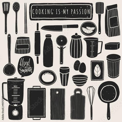 Fotografia  Doodle kitchen set