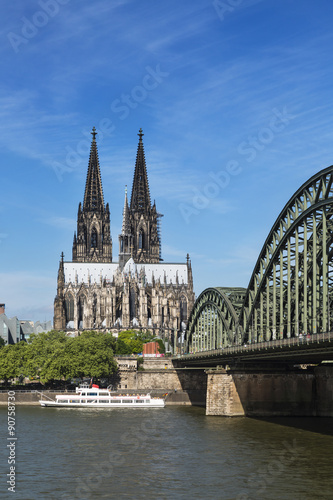 Foto op Plexiglas Historisch geb. Cologne Cathedral And Rhine River, Germany