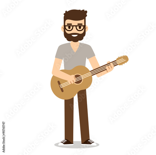 Obraz na płótnie Flat cartoon guitarist