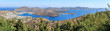 Island Patmos in the Dodecanese archipelago - considered to be sacred because here St. John described a vision of the Apocalypse. Panorama of island & port Skala seen from the Monastery of Saint John