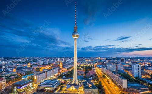 Foto op Canvas Berlijn Berlin skyline with TV tower at Alexanderplatz at night, Germany