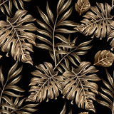 seamless pattern of gold leaves and flowers - 90768929